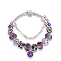 Charme pourpre mystérieuse Trèfle Pendentif Bracelet Convient pour Pandora Argent plaqué luxe concepteur original Coffret de bricolage perles Bracelet
