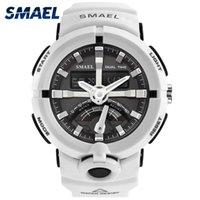 2017 nova eletrônica assistir smael marca homens digitais relógios relógios masculinos relógio dual display impermeável mergulho branco relogio 1637