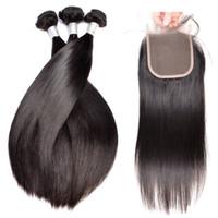 9A 100 نسج الشعر البشري غير المجهزة مع إغلاق الحرير مستقيم البرازيلي بيرو بروفي حزم الشعر مع إغلاق