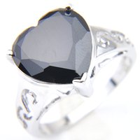 5 Pcs Fashion Women Rings Heart Black Onyx Gems 925 Sterling Silver Plated For Solitaire Rings Jewelry Holiday gift