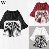 Womail chándal Otoño Las mujeres de moda 2 piezas conjunto de bandas de roza cuello manga larga blusa de la camisa establece pantalones cortos + Trajes de mujeres de vacaciones 85