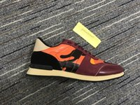 Martin GZ ROCKSTUDS Cuero Suede Lace Rockrunner Zapatos Hombres Stud Rivet Camuflaje Sneakers Runner Trainers Deporte Casual CC Zapatos Tamaño 35-45