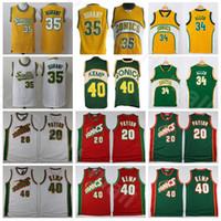 Les hommes de basket-ball Shawn Kemp Jersey Gary Payton Kevin Durant Ray Allen Cousu Vert Jaune Rouge Blanc Domicile Extérieur Respirant Bonne Qualité