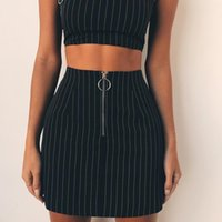 Striped Sexy Two Piece Sets (crop Camis + skirts )2 Piece Set...