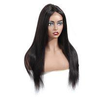Gagaqueen brasileiro de seda reta dianteira perucas de cabelo humano não processado 4x4 perucas de laço brasileiro perucas de cabelo humano