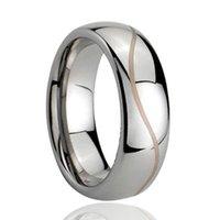 Wave Line Laser Gravure Domed Tungsten Ring Half Ronde Groothandel 8mm voor Mannen