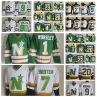 Dallas Stars Jersey Gump Worsley Nech Broten Craig Hartsburg Mike Modo Brian Brian Bellows Ciccarelli Vintage CCM Hommes Jerseys de hockey cousus
