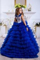 Luxe Royal Blue Lace Appliqued hiérarchisé Flower Girl Dress Vintage Tulle anniversaire de fille Prty Pageant robe longue robes de mariage formel