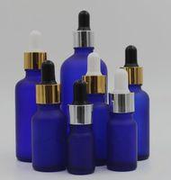 altın gümüş siyah beyaz kapaklı vape 10ml 15ml 20ml 30ml 50ml 100ml buzlu mavi cam şişe boston yuvarlak mat mavi damlatma şişesi