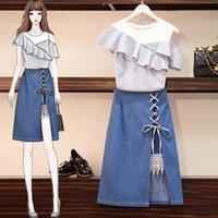Robe en deux pièces Hamaliel XL-5XL Summer Plus Taille Jupe Suit Femmes Hit Couleur Volants à rayures Set Set + Jeans de la mode Une ligne