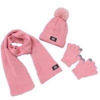 Детские зима теплая шапка и шарф перчатки Детская вязаная шапка 3 Бюстье 2019 Мальчик Девушки Pom Pom Cap шарфы Костюм 0-2T MZ8570