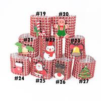 Fuentes de la Navidad de los anillos de servilleta de 27 estilos del Rhinestone de los anillos de plástico del abrigo de la hebilla de la boda del hotel Fiesta Presidente OOA7268-2