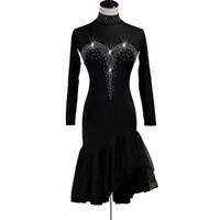 Baile latino vestido de las mujeres Venta vestido de los trajes danza de la salsa latina 4 opciones D0543 diamantes de imitación mangas de malla de Hem
