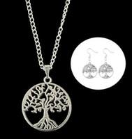 Neuesten Frauen Statement Baum des Lebens Anhänger Halskette Ohrring Schmuck-Set Pagan Wicca Gothic Designer Kette Halskette Schmuck-Freundschaft-Geschenk