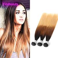 Peruana extensiones del cabello humano 1B / 4/27 Ombre rectas de color Tejidos de pelo de tres tonos de color 1B 4 27 Paquetes