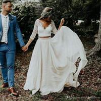 2020 مثير شاطئ بوهو فساتين الزفاف طويلة الأكمام ألف خط الأبيض العاج الشيفون الدانتيل الأميرة زائد حجم العروس قطعتين الزفاف ثوب الزفاف BA9943