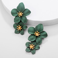 New Vintage Alloy Big Double Flower Drop Earrings for Women ...