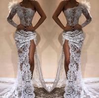 Weiß volle Spitze-Nixe-Abend-Kleider Heißer Sell Side Split 2020 Modern Eine Schulter durchschauen Roter Teppich Festzug Promi-Kleider Arabisch