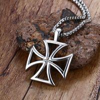 Ювелирные изделия Mprainbow Mens ожерелье из нержавеющей стали Урожай Hollow Мальтийский Железный крест кулон ожерелье тамплиеры крест моды