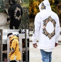 Новый дизайн Цветочный принт толстовки мужчины хип-хоп боковой Сплит толстовка толстовки с капюшоном пуловер с длинным рукавом перемычка tops1