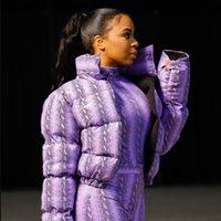 Festival de la serpiente de impresión Chaqueta de invierno tapas de las mujeres caliente Parka Escudo de burbujas gruesos calientes Parka Prendas de cultivos Puffer Jacket