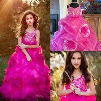 Fuchsia Girls Pageant Dresses V Cuello de encaje con cuentas Cristal Ruffles Faldas en escala Flower Girls Vestido Modesto Una línea Niños Vestidos de fiesta