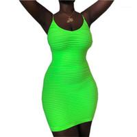 Vestido del tanque de moda de verano ajustado de espagueti de la envoltura de la correa de los vestidos de las mujeres verde fluorescente