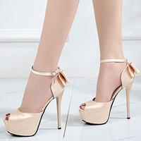 Bombas mulheres de luxo designer de luz gravata borboleta de ouro vermelho de cetim plataforma casamento sapatos finos saltos altos 12cm 14 centímetros tamanho 34 a 39