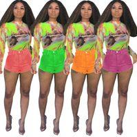 Jeans donna eleganti leggings aderenti pantaloncini skinny denim tasca con bottone solido buco strappato cerniera volare Sopra i vestiti estivi al ginocchio plus size 328
