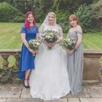 Schulterfreies Tüll-Brautkleider Boho-Garten mit langem Zug Brautkleid Custom Made Country-Stil