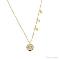 Nuova moda rotonda collana intarsio hamsa LUCKY malocchio collana pendente oro riempito cubic zirconia cz moda occhi classici gioielli