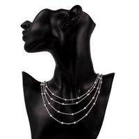 وصول أربع طبقات جديدة من الخرز الخفيفة الفضة الاسترليني والمجوهرات قلادة مطلي للنساء WN751، لطيفة 925 الفضة قلادة القلائد مع سلسلة