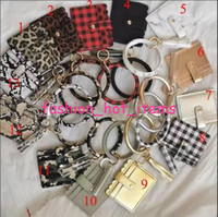 Buffalo plaid ID credit cards holder wristlet tassel keychai...