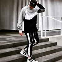 Teengers Hiphop Street Style Drawstring Trousers Males Fashion Casual Clothes Men Panelled Striped Zipper Pencil Pants Designer Sport Slim