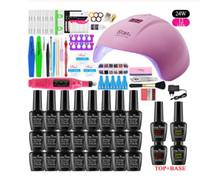 Set per unghie 24W Asciugatrice a lampada a LED 24W UV con 0/6/10/24 PCS Kit polacco immergersi Manicure Set Gel Smalto per unghie per strumenti per nail art