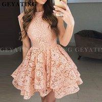 2020 розовое кружевное пышное короткое платье для выпускного вечера A Line Бургундия Выпускное платье Многоуровневое красное мини-платье для особых случаев Пром платья