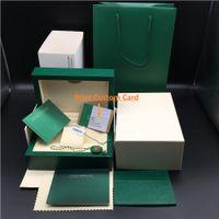 Original Match Correct Papers Carta di sicurezza Gift Bag Top Green Wood Watch Box per Rolex Boxes Libretti Orologi Stampa gratuita Scheda personalizzata