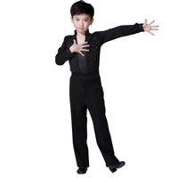 Bühnenabnutzung 2021 Junge Latin Dancewear Ruffly Blue White Black Ballroom Moderne Jungen Tanzkostüme Kleidung