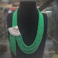Горячее надувательство натуральный 2x4mm зеленый камень вентилятор форма микро инкрустация Циркон застежка кисточкой ожерелье длинные 45-65 см свитер цепи ювелирные изделия