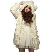 Sonbahar Kış Kadın Sıcak Kürklü Coats Moda Sevimli Ayı Kulak Peluş Kalın Kapşonlu Siyah Beyaz Önlük ceketler giyim 6Q2458
