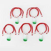 10pcs vert bouddha bodhisattva pendentif avec perles blanches corde rouge ficelle bracelet chanceux bracelet bijoux chinois oriental réglable