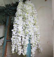 도매 흰색 등나무 꽃 등나무 실크 인공 꽃 Celing 벽 매달려 꽃 포도 나무 웨딩 장식