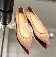 2019 новая весна лето элегантные стили женская обувь горный хрусталь плоские туфли кристаллы острым носом сетки насосы женщина свадебные туфли