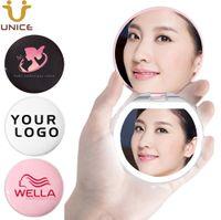 100 teile / los benutzerdefinierte logos led beleuchtung make-up spiegel protbare tasche kompakt mini geldbörse kosmetikspiegel kundenspezifisch logo