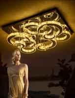현대 사각형 크리스탈 천장 조명 크리에이티브 LED 달 빛 스테인레스 스틸 거실 조명기구 램프 거실 조명 램프 LLFA