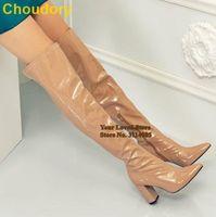 Choudory Nude Lackleder Chunky Heel Stiefel Overknee-Spitzschuh Lange Stiefel Sexy Schenkel Hohe Kleid Hohe Schuhe