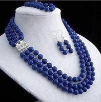 Fashion 3 Rows 10 mm Blue lapis lazuli round beads necklace ...