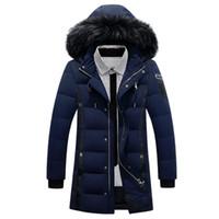Veste pour hommes capuche en fourrure 2016 plumes Parkas pour les hommes manteaux en duvet Noir Taille Plus chaud Vestes d'hiver Hommes Épaissir Vêtements Homme