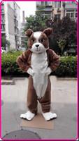 Dia das bruxas marrom bulldog traje da mascote dos desenhos animados do cão do anime personagem de natal festa de carnaval do natal fantasia trajes adultos outfit