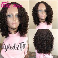 Full / negro marrón oscuro handtied Caja trenzas peluca con el pelo del bebé trenzó el pelo rizado sintética del frente del cordón del ganchillo de trenzas para la mujer